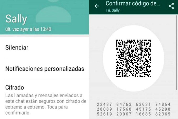 Mensajes encriptados de WhatsApp