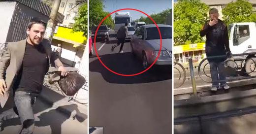 Héroe abandona su Motocicleta en el tráfico y corre entre los coches para atrapar a un Ladrón