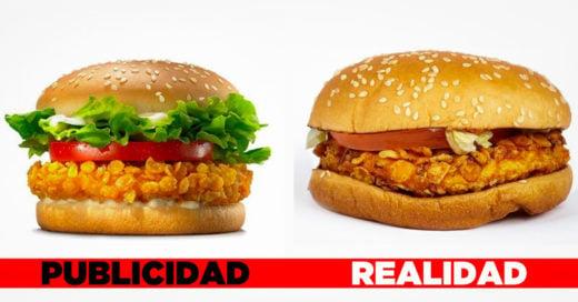 Comparacion de hamburguesa real y publicidad