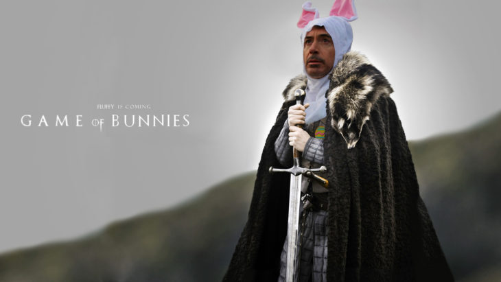Robert Downey Jr vestido de conejo en Batalla de Photoshop