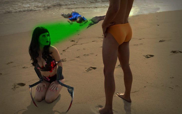 Katy Perry de rodillas ante un hombre desata Batalla de Photoshop