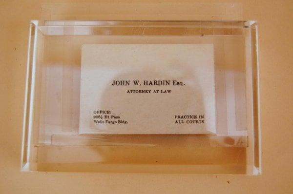 Tarjeta de John Wesley Hardin