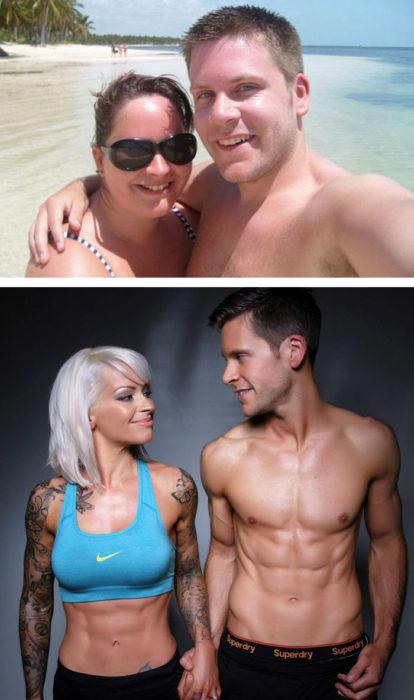 pareja baja de peso y se casan