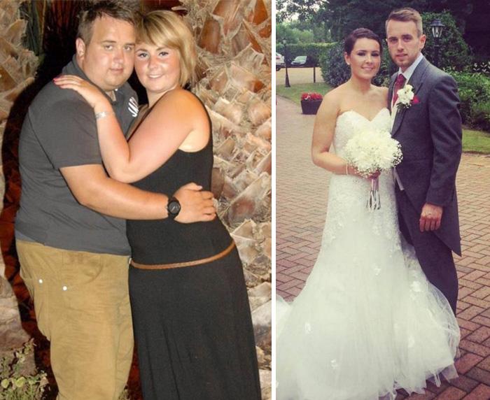 pareja baja de peso para su boda