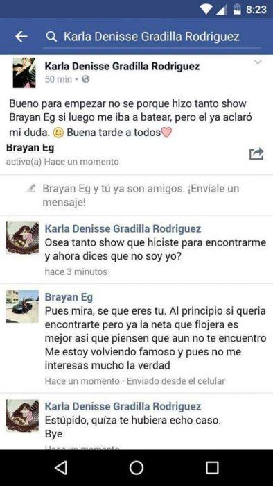 conversación entre el brayan y Karla Denisse