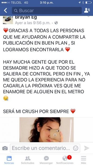 post de Facebook de Karla Denisse