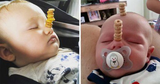 #CheerioChallenge; Así se retan los papás para lograr la torre más alta de Cheerios sobre sus hijos