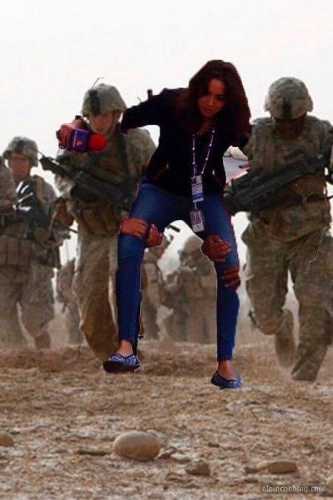 meme Lady reportera, soldados