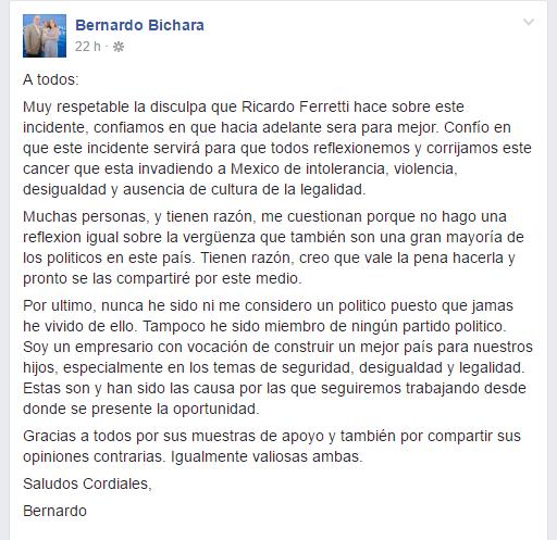 Bernardo Bichara segunda carta