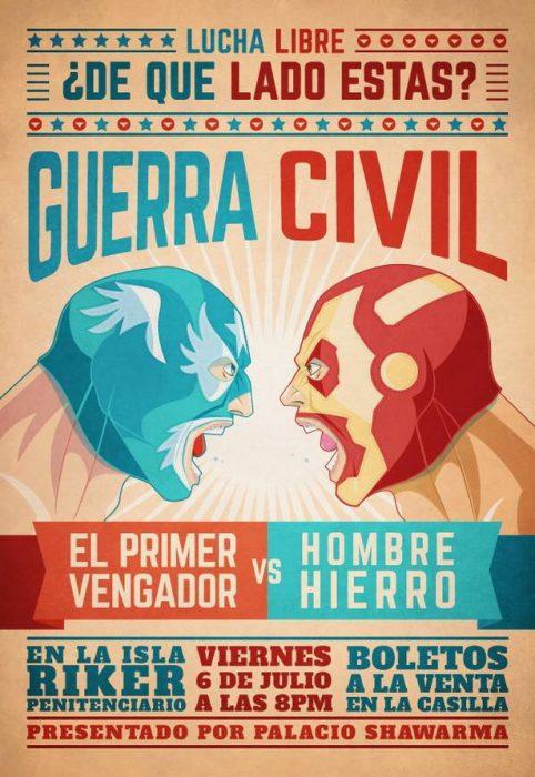 poster comic en lucha libre el primer vengador vs hombre de hierro