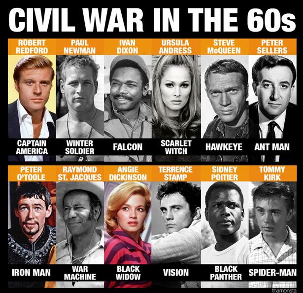 elenco capitan america en los 60s