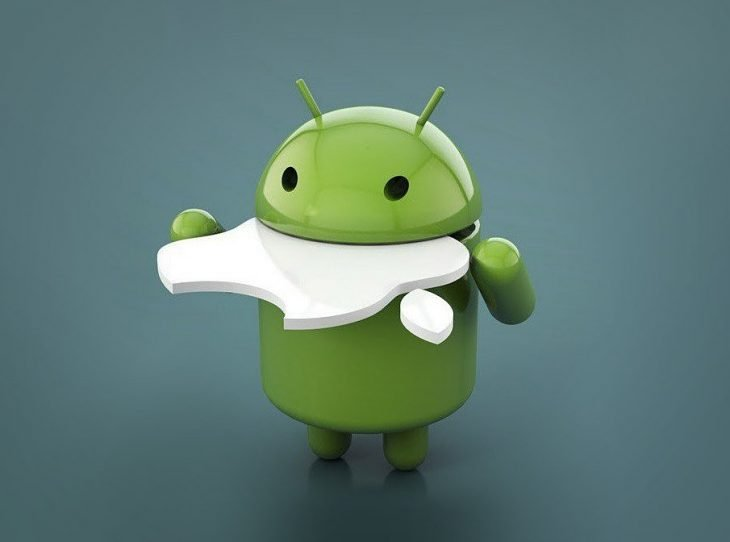 android comiendo apple