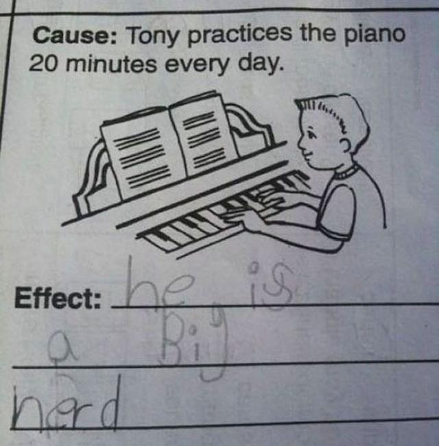 ilustración examen niño tocanto el piano
