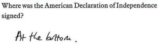 declaración de independencia examen