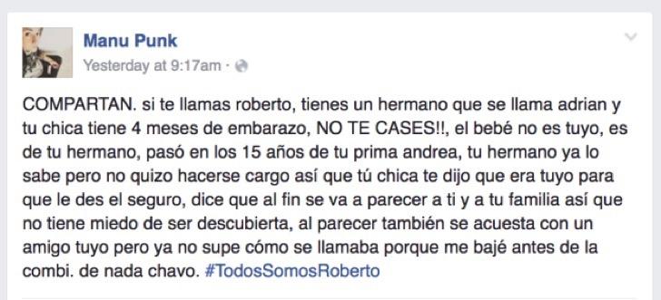 Mensaje de advertencia a Roberto