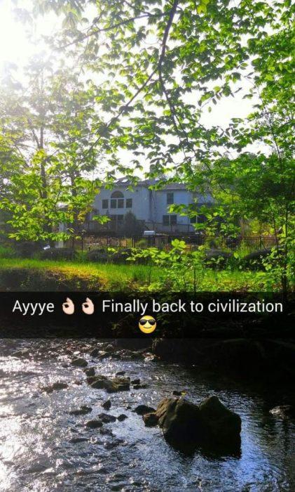 snapchat Finalmente, de regreso a la civilización