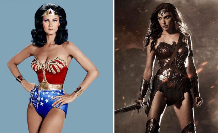 mujer maravilla en 1977 y en 2016