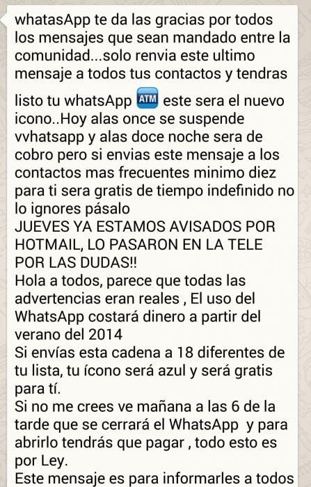 Cadenas en Whatsapp