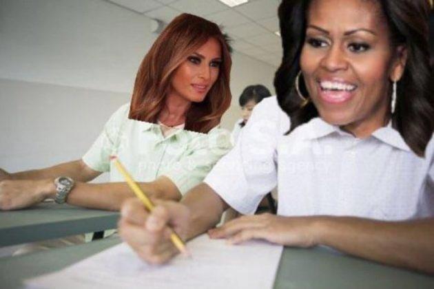 en clase copiando trump