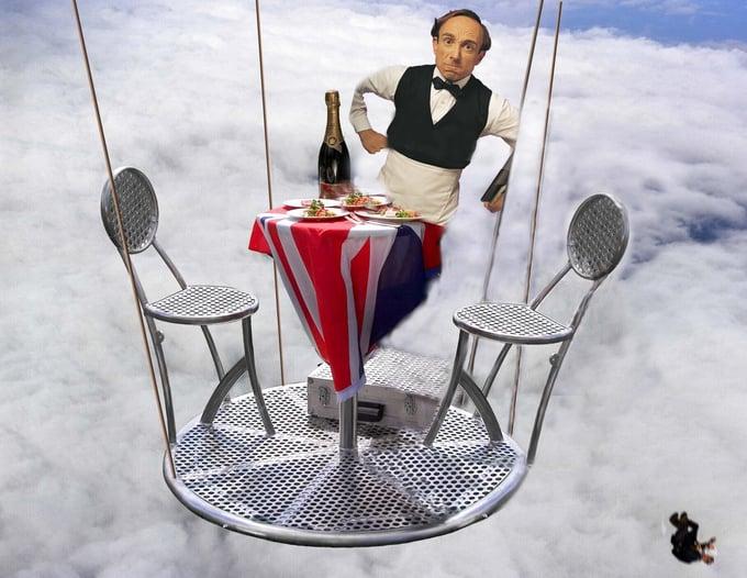 camarero en el aire