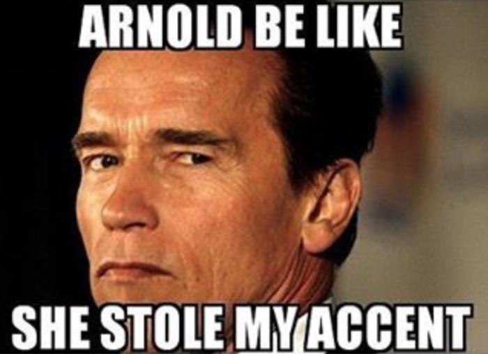 Arnol molesto con melania meme