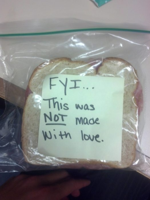 nota en sandwich
