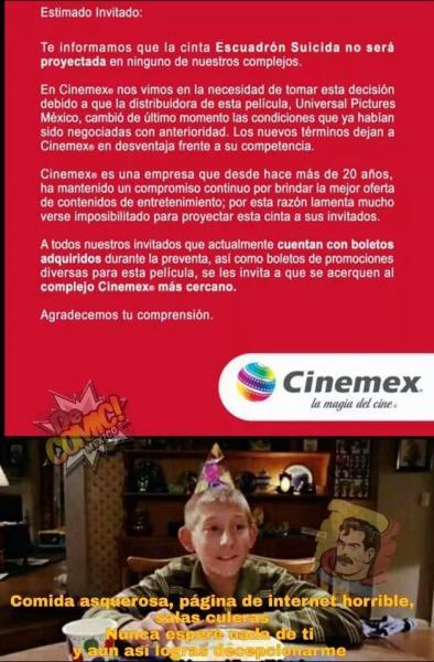 Memes por cancelación de Suicide Squad en Cinemex