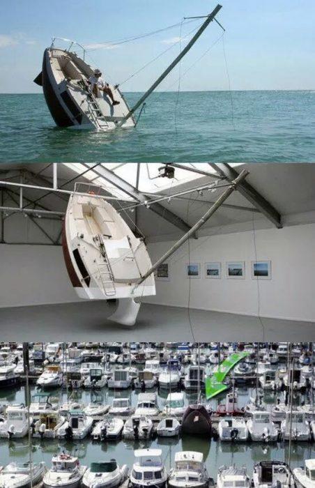 barco en forma de barco hundido