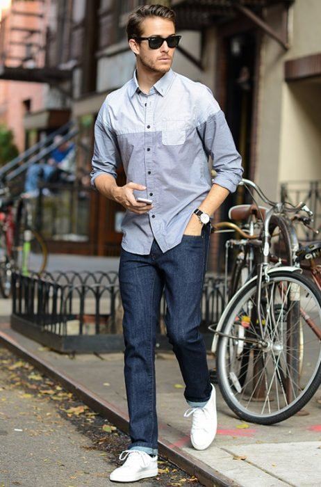 camisa jeans tenis
