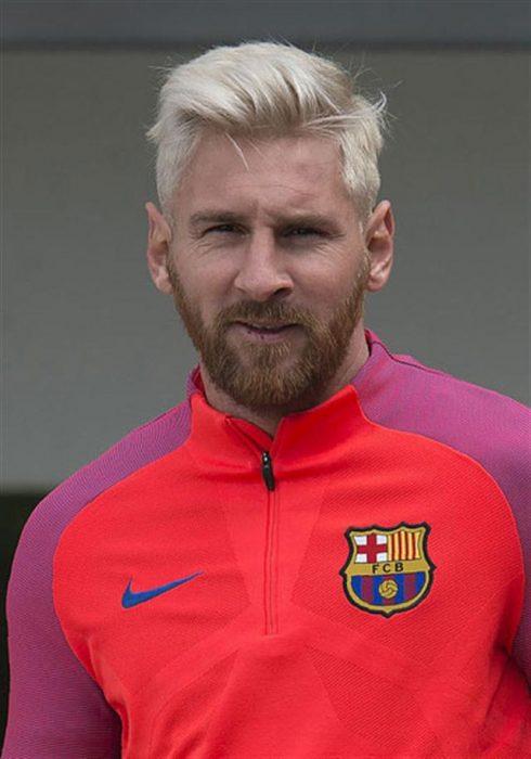 Lionel Messi rubio y con barba