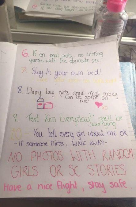 Reglas para dejar viajar a su novio
