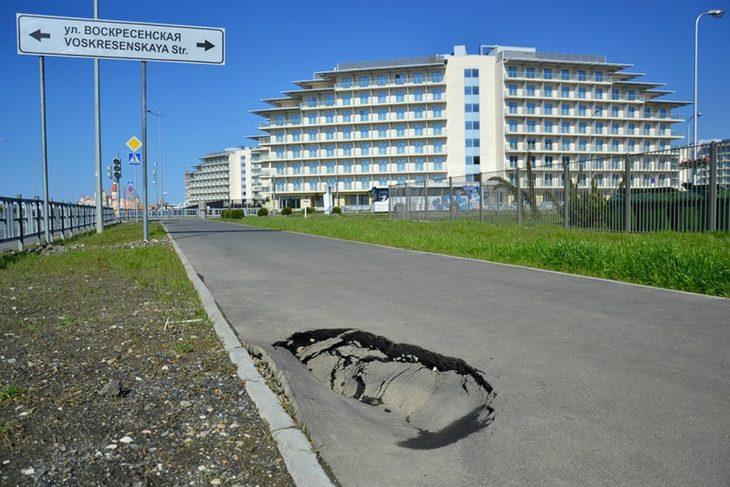 Camino a instalaciones olímpicas en Sochi