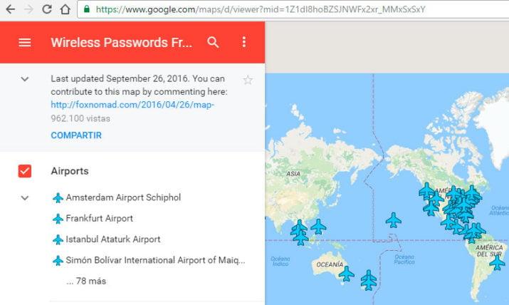 Mapa de aeropuertos con WiFi en el mundo