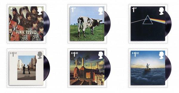 Estampillas con discos de Pink Floyd