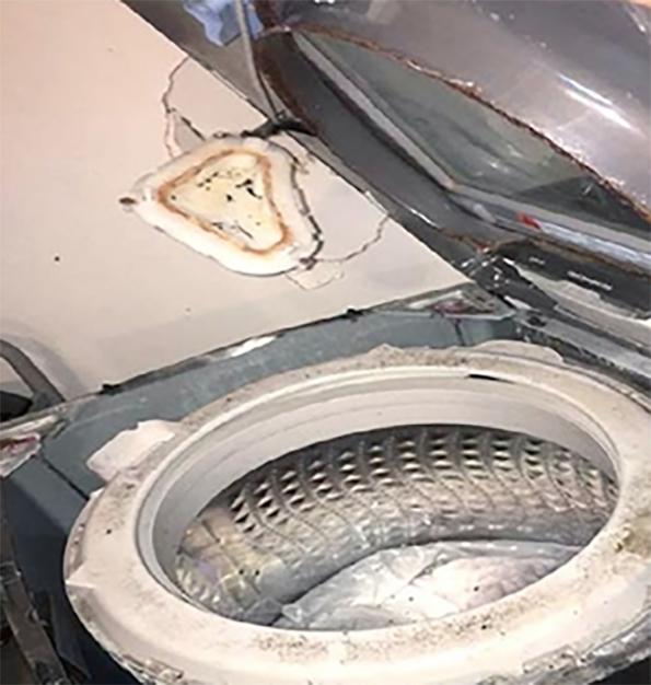 Lavadora Samsung explotó