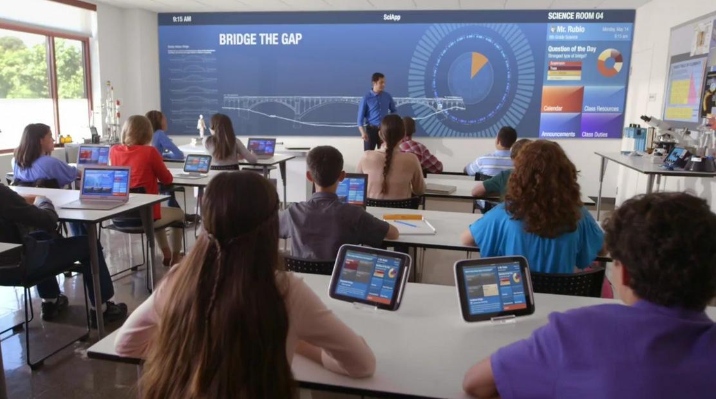 Resultado de imagen para escuela futurista, pantallas