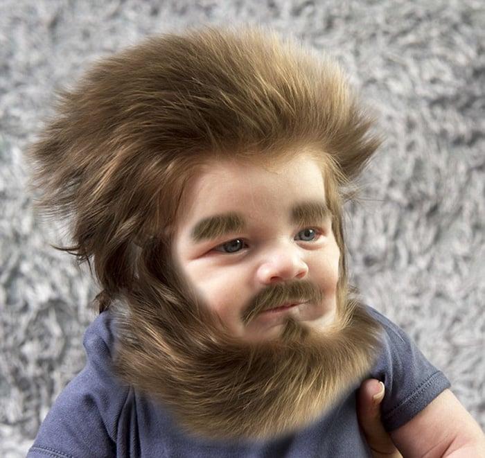 bebe con barba