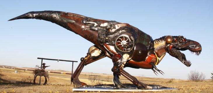 t rex escultura