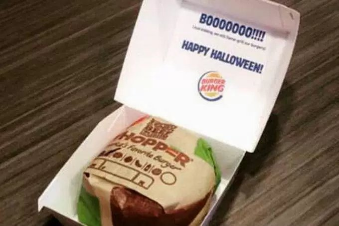 Caja de hamburguesa de Burger King disfrazada
