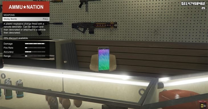 Samsung Galaxy Note7 en GTA V