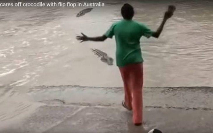 mujer ataca a cocodrilo