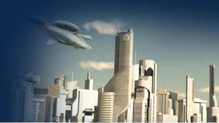 coche volador en ciudad futurista
