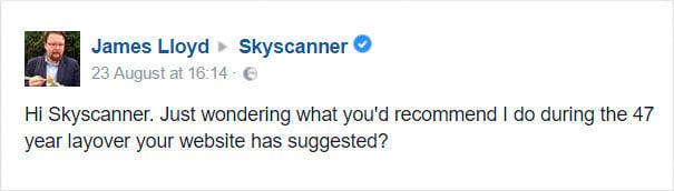 Comentario de usuario de Skyscanner