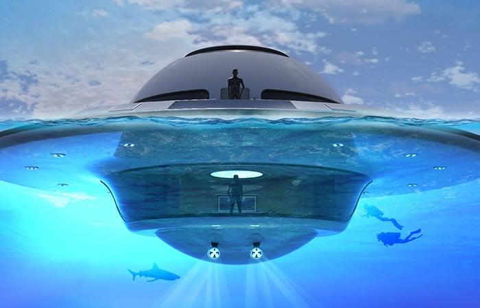 Casa flotante en forma de OVNI