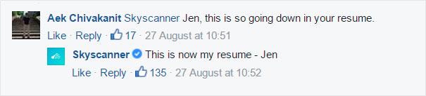 Comentarios a Jen de Skyscanner