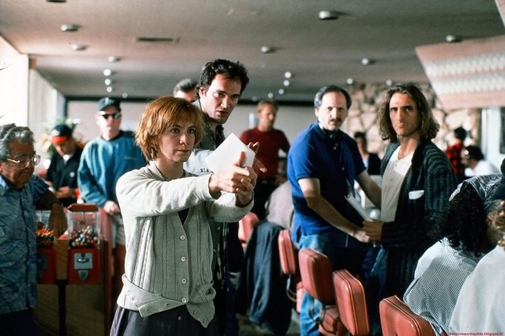 Tarantino en el set de Pulp Fiction