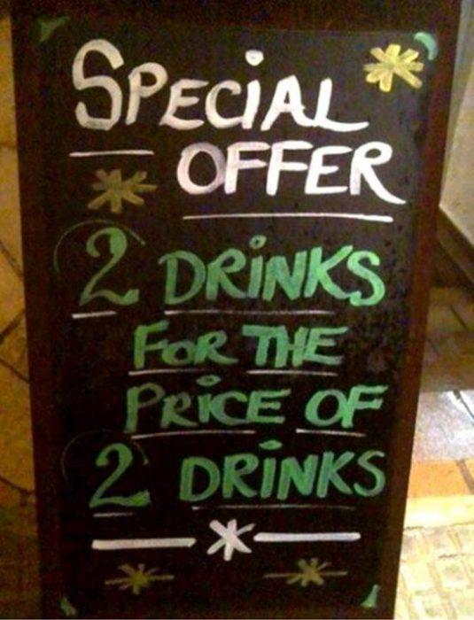 letrero bar oferta especial