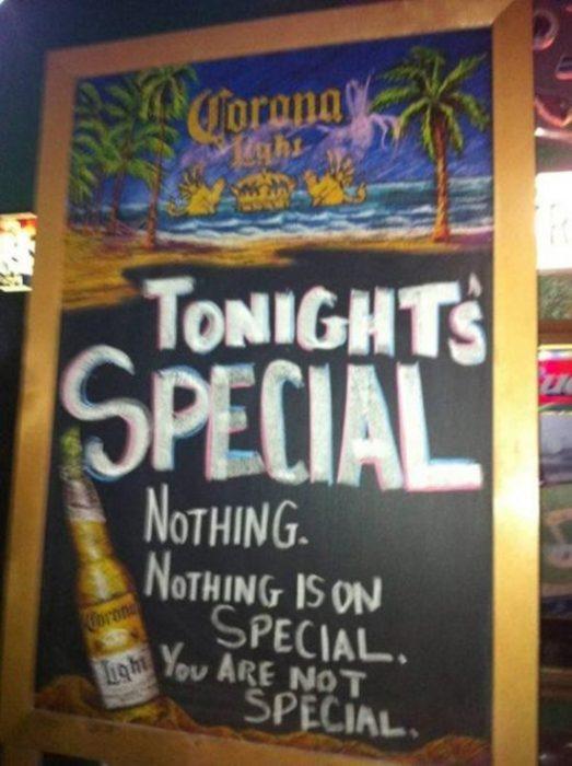 letrero bar especial
