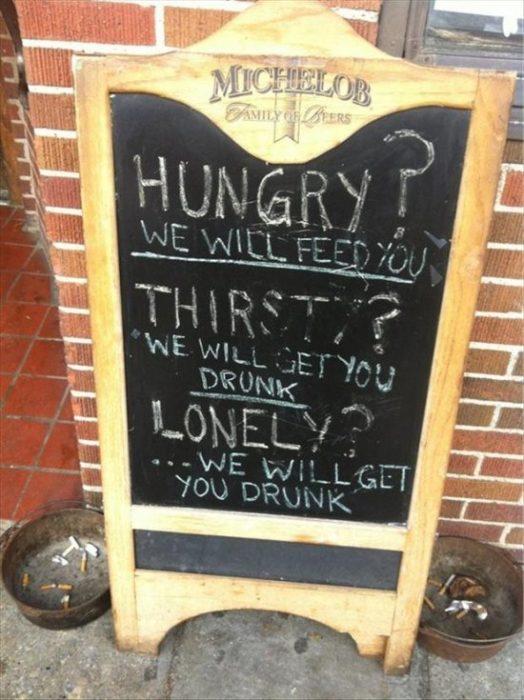 letrero bar hambre