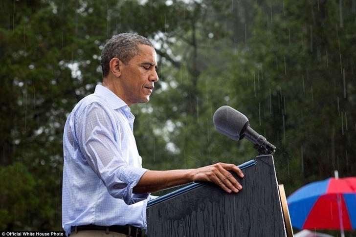 obama en la lluvia